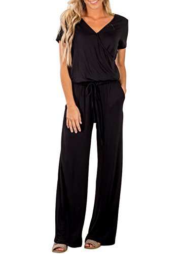 Dearlove Women Short Sleeve Loose Wide Legs Jumpsuits Casual V Neck Elastic Waist Long Pant Rompers with Pockets Black Plus Size XL