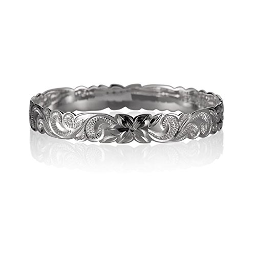 Size 8 Sterling Silver 925 Queen Scroll Hawaiian Engraved Bangle ()