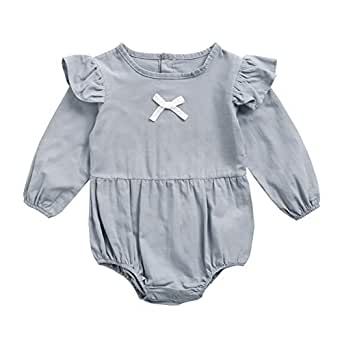 Fairy Baby Girls Outfit Long Sleeve Romper Cotton Ruffle Newborn Bodysuit One Piece Size 0-6M (Gray-Blue)