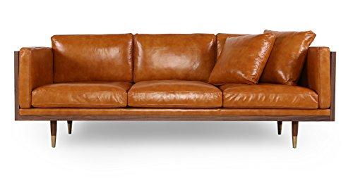 Kardiel Woodrow Lush Midcentury Modern Sofa, Walnut/Tan Anil