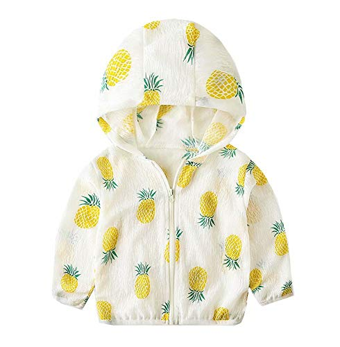 Toddler Kids Boys Pineapple Summer UV Protection Clothing Children Sun Protective Ultrathin Hoodie Jacket, White, Size 4 Years = Tag 110]()