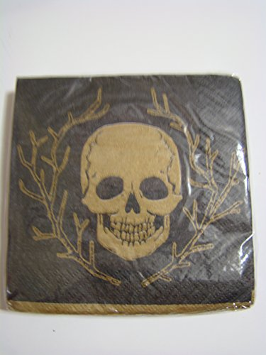 (Halloween - Black with Gold Skull Beverage Napkins 18 ct.)