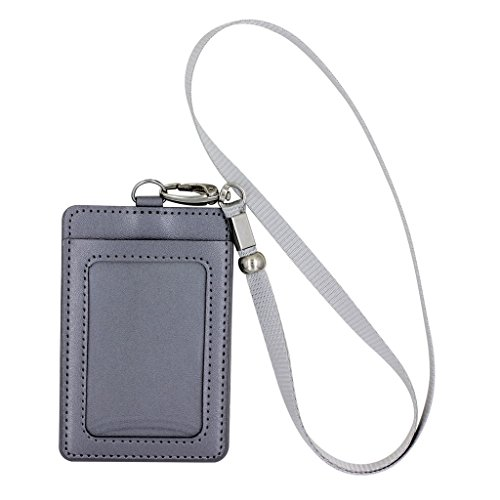 XinwaY Vertical Style 2-Sided PU Leather Business Id Credit Card Badge Holder with 1 ID Window and 1 Card Slots and Detachable Neck Lanyard (Silver)