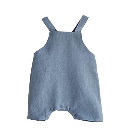 Unisex Baby Romper One-pieces Sleeveless Jumpsuit Flax Cotton Breathable Clothes Soft Light Bodysuit Blue L