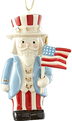 Lenox UNCLE SAM with American Flag 2017 Annual Nutcracker Patriotic Xmas Ornament US Flag ()