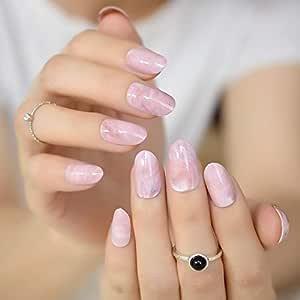 EchiQ - Puntas de uñas postizas con patrón de mármol rosa ...