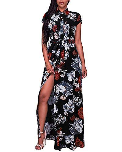 BIUBIU Split Dress for Women,Ladies Cap Sleeve Sexy Button Up Stylish Lightweight Flower Patterned High Split Swing Flowy Beach Party Dress Black S