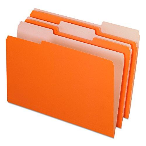 Pendaflex 435013ORA Interior File Folders, 1/3 Cut Top Tab, Legal, Orange (Box of 100)