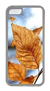 LJF phone case iPhone 5c Case Unique Cool iPhone 5c TPU Transparent Cases Dry Leaves Autumn Design Your Own iPhone 5c Case