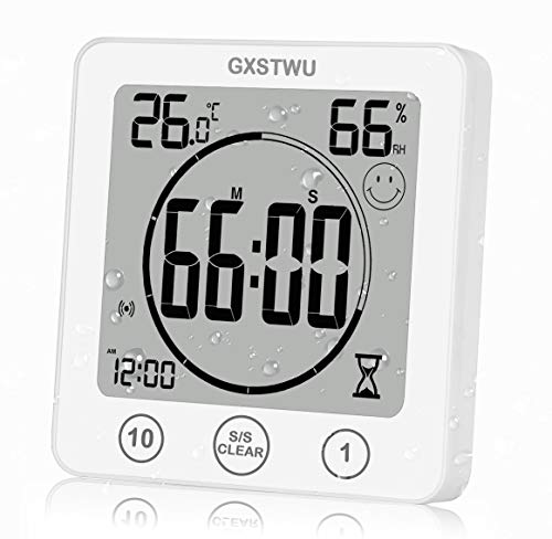 GXSTWU Digital Shower Clock Waterproof Timer with Alarm, Bathroom Kitchen Wall Clock, Touch Screen Timer [Count up and Down], Thermometer Hygrometer Suction Cup Hanging Hole Stand Magnet (1pack)