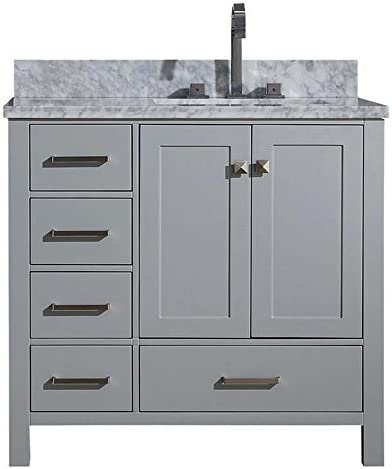 ARIEL 37 inch Right Offset Rectangle Sink Grey Bathroom Vanity Cabinet with Carrara White Marble Counter-top 2 Soft Closing Doors and 5 Full Extension Dovetail Drawers No Mirror