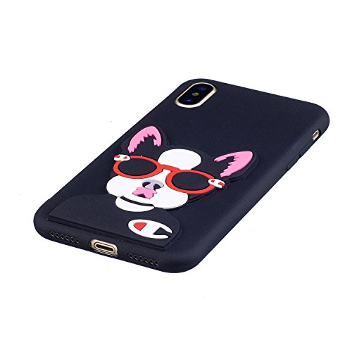 iPhone X Hülle , Leiai 3D Brille Katze Leicht TPU Weich Tasche Schutzhülle Silikon Etui Handyhülle Stoßdämpfende Schale Fall Case Shell für Apple iPhone X