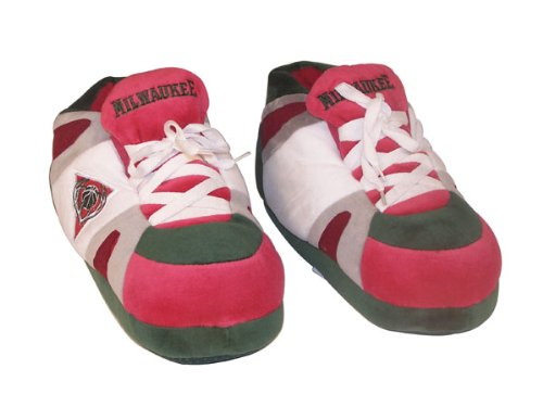 Happy Feet And Comfy Feet Hombres Y Mujeres OficialHombreste Con Licencia Nba Sneaker Sneaker Slippers Milwaukee Bucks