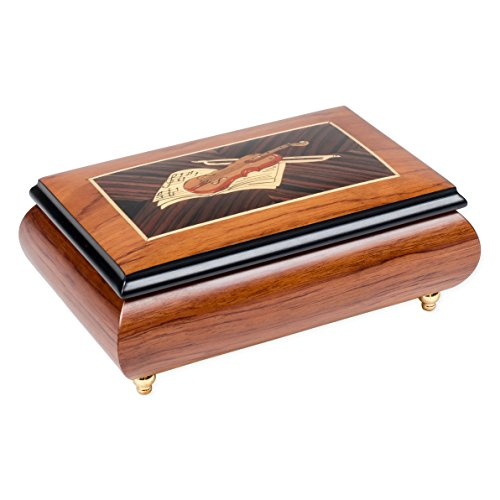 Violin on Sheet Music Matte Italian Hand Crafted Inlay Keepsake Box Plays Water (Violin Inlay Music Box)