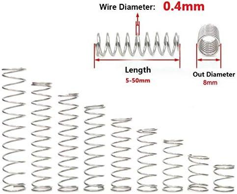 NO LOGO X-Baofu 10Pcs 3D-Drucker Zubeh/ör Feeder Federstahldraht Durchmesser 0,4 mm Au/ßen-/Ø 8mm L/änge 5mm-50mm Edelstahl-304 Druckfeder Gr/ö/ße : 15mm