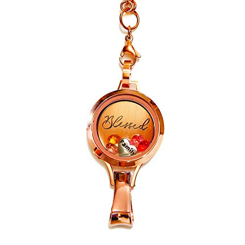 Stainless Steel Floating Locket Lanyard with Badge Holder (Blessed Preset - Rose Gold No Stone | Stainless Steel - Twist) ()