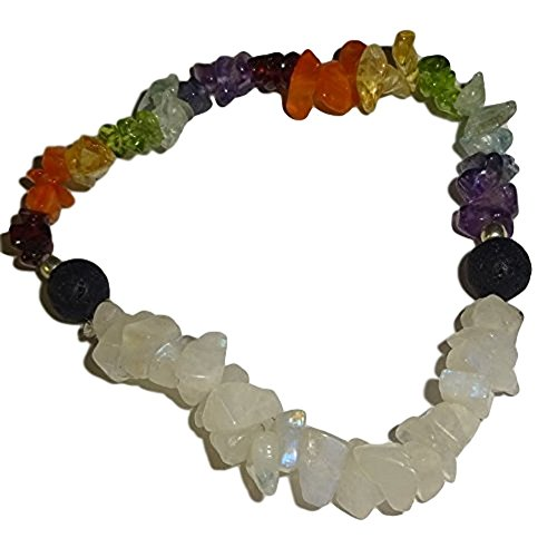 Sublime Gifts Natural Chakra/Rainbow Moonstone Crystal Healing Chip Gemstone Stretch Bracelet Stones