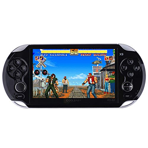 Aritone - Toys 5.0 Inch LCD Screen Handheld Games Console, 8G Storage Video Games Player with Built-in 1300 Classic Games Street Fighers Final Fight Game Player (Black)