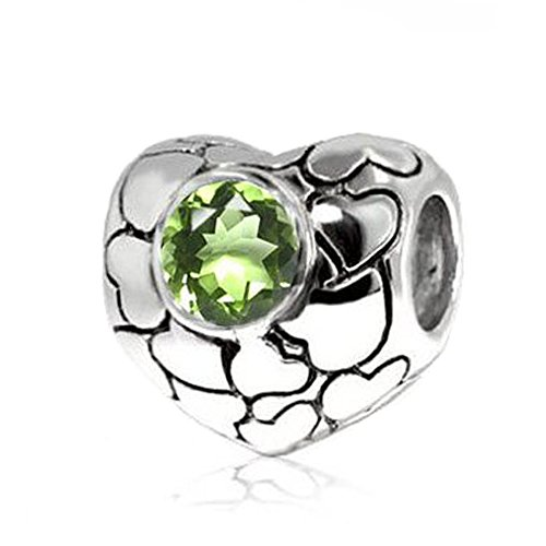 Jovana Sterling Silver Love Hearts Bead Charm with Peridot Gemstone (August Birthstone),Fits Pandora - Peridot Charm Sterling Silver