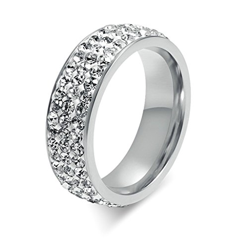 KnSam Women Stainless Steel Eternity Ring Crystal Stack Ring All-around Ring Silver Size (Zippo Stack)
