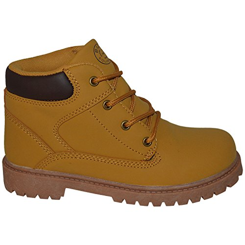 Kids Classic Construction Boot Design Lace-up Boots, BE-120192-Y-TAN-2