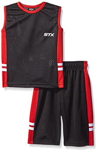 STX Big Boys' 2 Piece Performance Athletic Tank and Short Set, Red/Black, 8