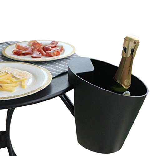 Space saver Ice Bucket, Patented mechanism, Designed in France, Adjustable for table top thickness up to 2 inches, Matte Black, Simple Design, Space saving mechanism, Passed 11 Lbs Safety Test (Bucket Table Ice Holder)