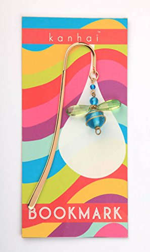 (Bumble Bee Brass Book Gem Bookmark (BLUE) -Handmade designs! Perfect for Women, Teens, Students and Stocking Stuffers!)