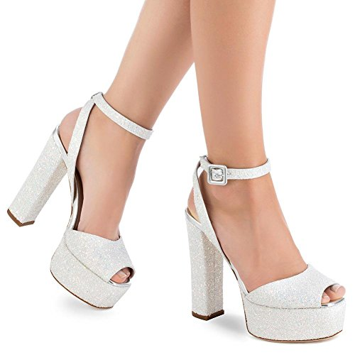 Dress Glitt SYYAN Party Sandals Fish Mouth Shoes Wedding Pump Platform Women's 37 White 5Owx0gwq6