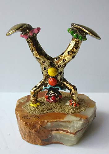 Ron Lee Vintage Gold Upside Down Circus Clown On Marble Very Collectible Figurine