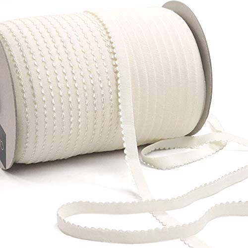 12 Yards of LYRA 11 Picot-Edge Plush Lingerie Elastic, Cream Color, Made in Italy