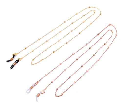 LIKGREAT 2 Pcs Eyeglass Chains for Women Beaded Reading Glasses Cords Sunglasses Holder Strap (gold + rose gold) by LIKGREAT