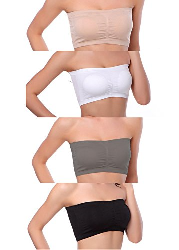 Venbond 3-4Packs Women's Seamless Bandeau Crop Tube Top Bra Strapless Padded Brarette (S, Black/White/Nude/Grey)