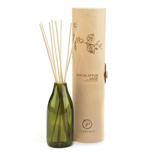 Paddywax Candles Eco Collection Aromatherapy Reed Oil Diffuser Set, Eucalyptus & Sage