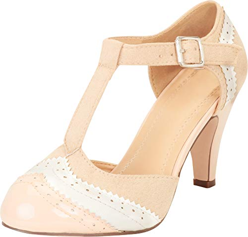 b255b343cc Cambridge Select Women's T-Strap Wingtip Style Cut Out Mid Heel Dress Pump