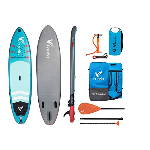 "Freein Explorer Inflatable SUP - Stand Up Paddle Board - 11' Long, 33"" Wide, 6"" Thick - Includes Adjustable Floating Paddle, Double Action Pump, Backpack, Ankle Leash, Repair Kit, Dry Bag"