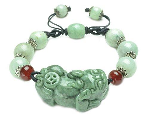 Elegant Jade Tiger Amulet Green Jade Beaded Bracelet-Feng Sui Energy Jewelry (Imperial Jade Jewelry)