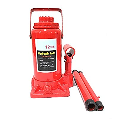 Hydraulic Bottle Jack - 12-Ton Capacity Heavy Duty Lift Automotive Tools