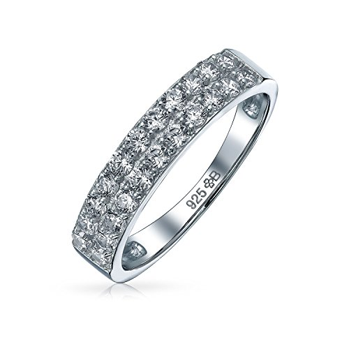 - Micro Pave Cubic Zirconia AAA CZ Stackable Anniversary Wedding Band Ring For Women 925 Sterling Silver 3MM