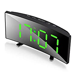 SEEDAN Digital Alarm Clock, 7 Curved Dimmable LED Screen Digital Clock for Kids Bedroom, Green Large Number Clock, Lightweight smart alarm clock,Snooze Function,12/24 Hour, USB Port (Without Adapter)