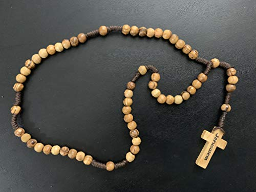 Natural Olive Wood Rope Rosary with Cross - from Bethlehem - - Artisan Beads Natural