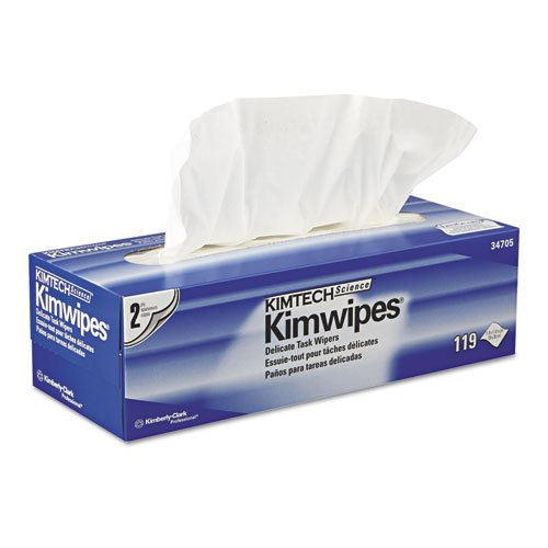 KIMBERLY-CLARK PROFESSIONAL* KIMTECH SCIENCE KIMWIPES Delicate Task Wipers, Two-Ply, 11 4/5 x 11 4/5, 119/Box - Includes 15 packs of 119 each.