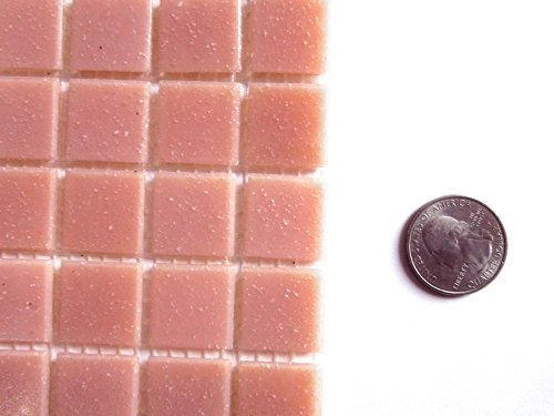 50 Pale Pink Virteous Glass Mosaic Tiles, Square Glass Pieces,Craft Supply for Tile Mosaic Art -