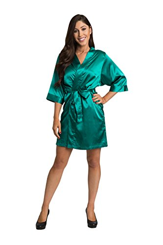 Zynotti Womens Teal Satin Blank Robe S/M 2-12