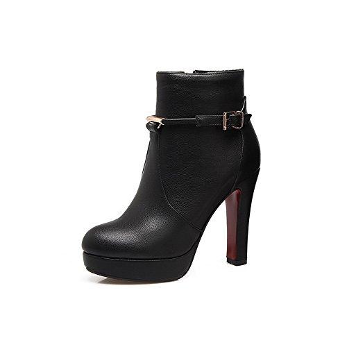 Heels M B Zipper Buckle US Urethane 10 Solid Boots High ABL09780 5 BalaMasa Womens Black Platform FYO6ntEx