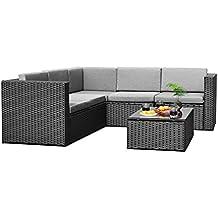 Sky Patio B1035-BL 4 Pieces Outdoor Furniture Complete Patio Wicker Rattan Garden Corner Sofa Couch Set, Black