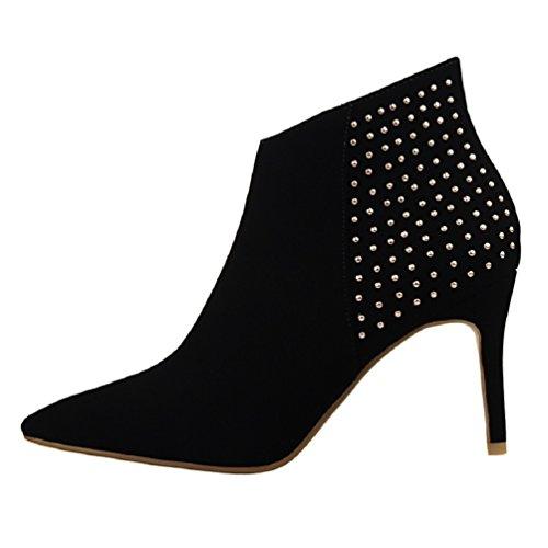 HooH Femmes Pointed Toe Retro Clouté Stiletto Bottines Noir Z0OOaC