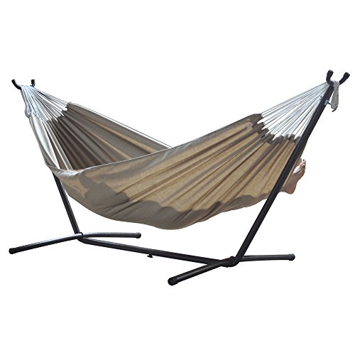 AmzHero 9-Foot Durable and Soft Double Hammock with Durable Steel Frame Stand in Sand