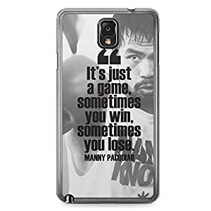 Manny Pacquiao Samsung Note 3 Transparent Edge Case - Quote Its just a game