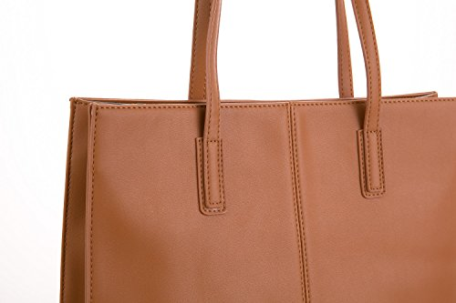 Jieway Women's Classic Vintage PU Leather Handbag Shoulder Tote Bags (Tan)
